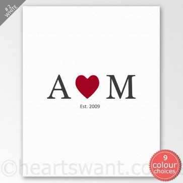 Couple Initials Heart Personalised Canvas Art - White