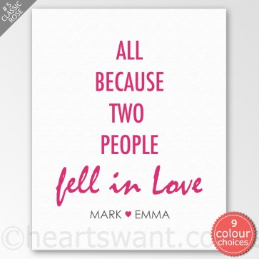 Fell In Love Personalised Canvas Art - Classic Rose