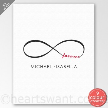Infinity Forever Personalised Canvas Art - White