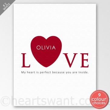 Inside My Heart Personalised Canvas Art - White