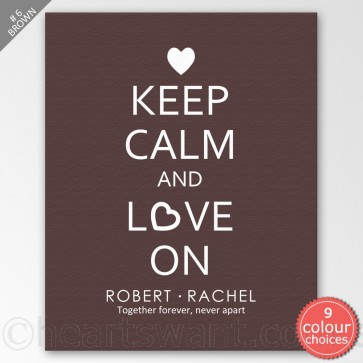 Keep Calm And Love On Personalised Canvas Art - Brown