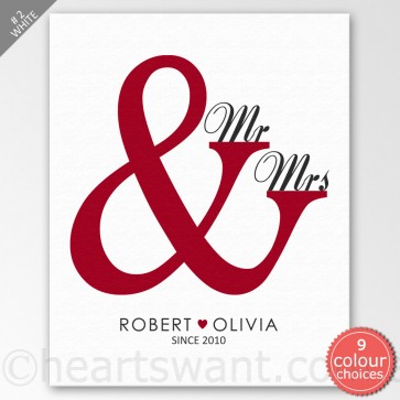 Mr & Mrs Personalised Canvas Art - White