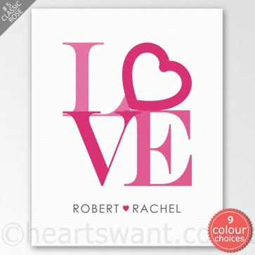 Only Love Personalised Canvas Art - Classic Rose