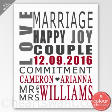 Wedding Typography Personalised Canvas Art - White
