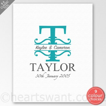 Decorative Couple Monogram Personalised Canvas Art - Classic Teal