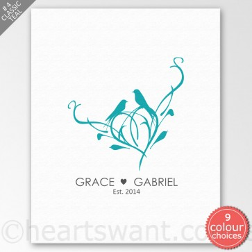 Perched Together Personalised Canvas Art - Classic Teal