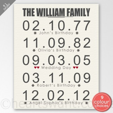 Family Dates Personalised Canvas Art - Ivory
