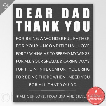 Dear Father Personalised Canvas Art - Grey
