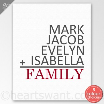 Family Math Personalised Wall Art - White