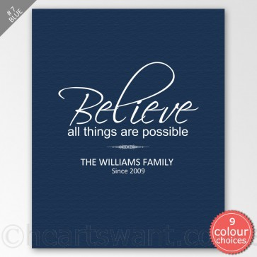 Believe It Is Possible Personalised Canvas Art - Blue