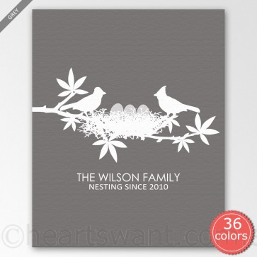 Nesting Birds & Eggs Personalised Canvas Art