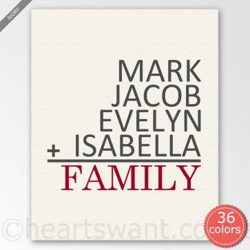 Family Sum Personalised Canvas Art