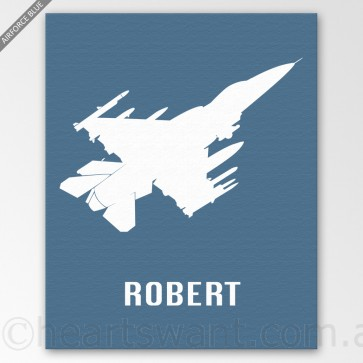 fighter plan personalised canvas