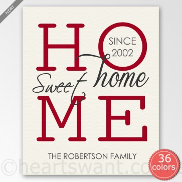 Home Sweet Home Personalised Canvas Art