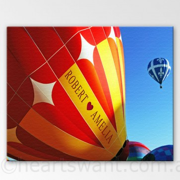 Flying High in Love Personalised Canvas Art - Colour