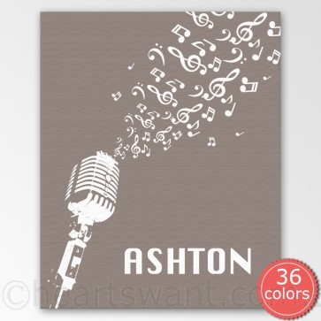 music microphone personalised canvas