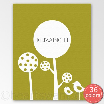 polka tree personalised canvas