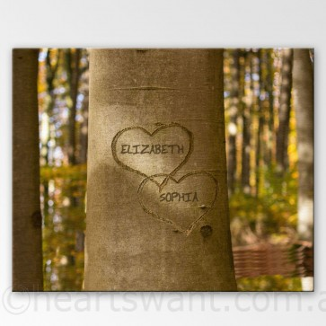 Carved Love Personalised Canvas Art