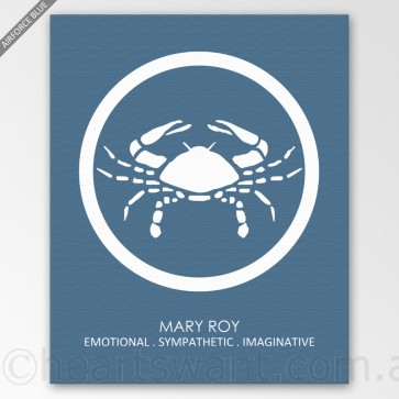 zodiac name personalised canvas