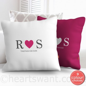 Couple Initials Heart Personalised Cushion Cover