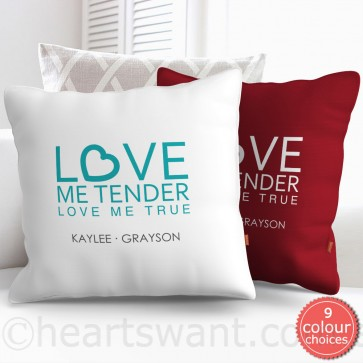 Love Me Tender Personalised Cushion Cover