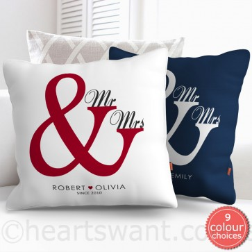 Mr & Mrs Personalised Cushion Cover