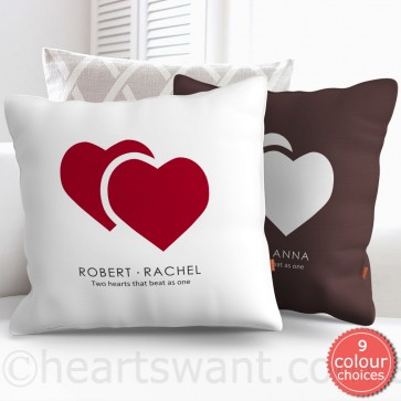 Two Hearts Beat One Personalised Cushion Cover