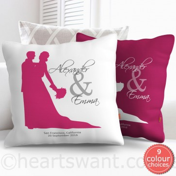 Wedding Couple Silhouette Personalised Cushion Cover - Ivory