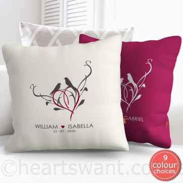 Perched Together Personalised Cushion Cover