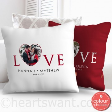 Love Heart Photo Cushion Cover