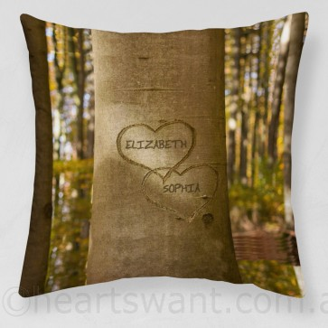 Carved Love Personalised Cushion Cover