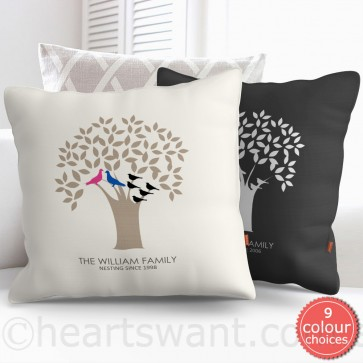 Family Tree Birds Personalised Cushion Cover