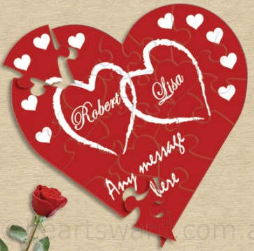 Romantic Love Hearts Personalised Jigsaw Puzzle