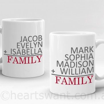 family sum personalised mug