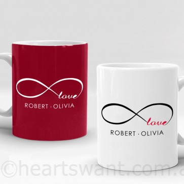 infinity love personalised mug