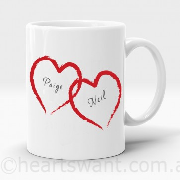 Romantic Love Hearts Personalised Mug