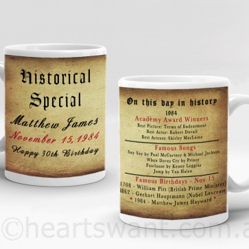 on this day in history personalised mug