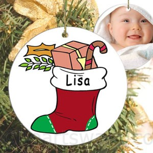 Baby Stocking Personalised Christmas Ornament