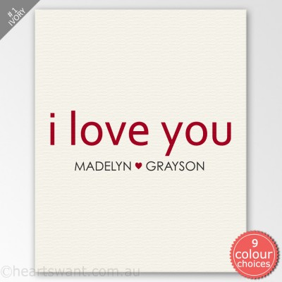Classic I Love You Personalised Canvas Art - Ivory