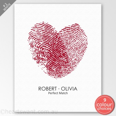 Fingerprint Heart Personalised Canvas Art - White