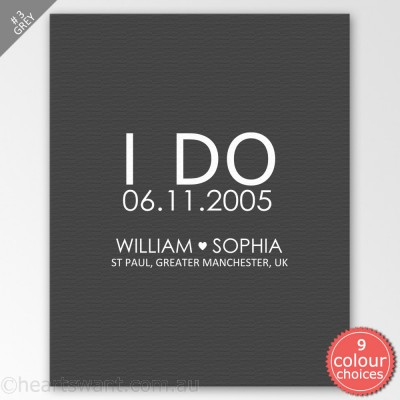 I Do Wedding Personalised Canvas Art - Grey