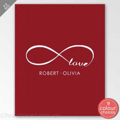 Infinity Love Personalised Canvas Art - Red
