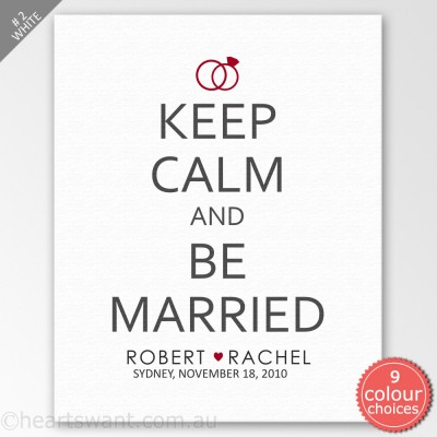 Keep Calm And Be Married Personalised Canvas Art - White