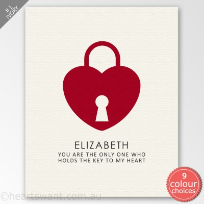 Key To My Heart Personalised Canvas Art - Ivory
