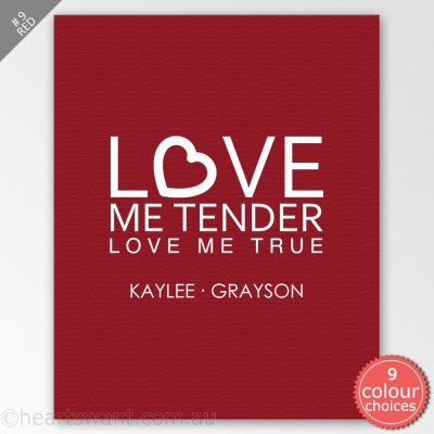 Love Me Tender Personalised Canvas Art - Red