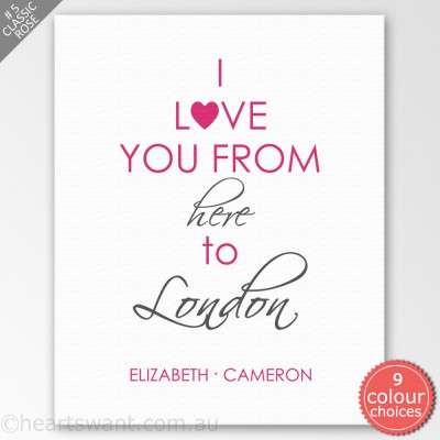 I Love You From Here Personalised Canvas Art