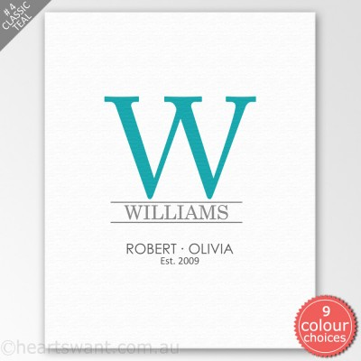 Classic Couple Monogram Personalised Canvas Art - Classic Teal