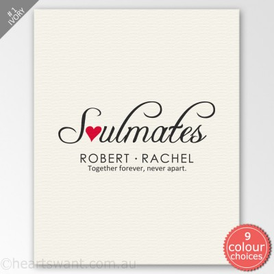 Soulmates Personalised Canvas Art - Ivory