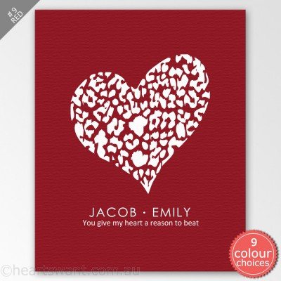 Tender Heart Tender Love Personalised Canvas Art - Red