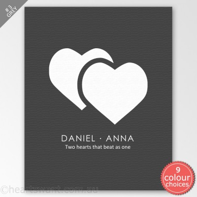 Two Hearts Beat One Personalised Canvas Art - Grey